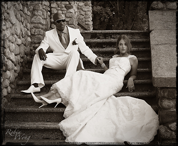Sepia tone wedding photo